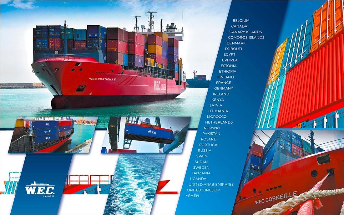 Kalenderbeeld met diverse containers en containerschepen in beeld