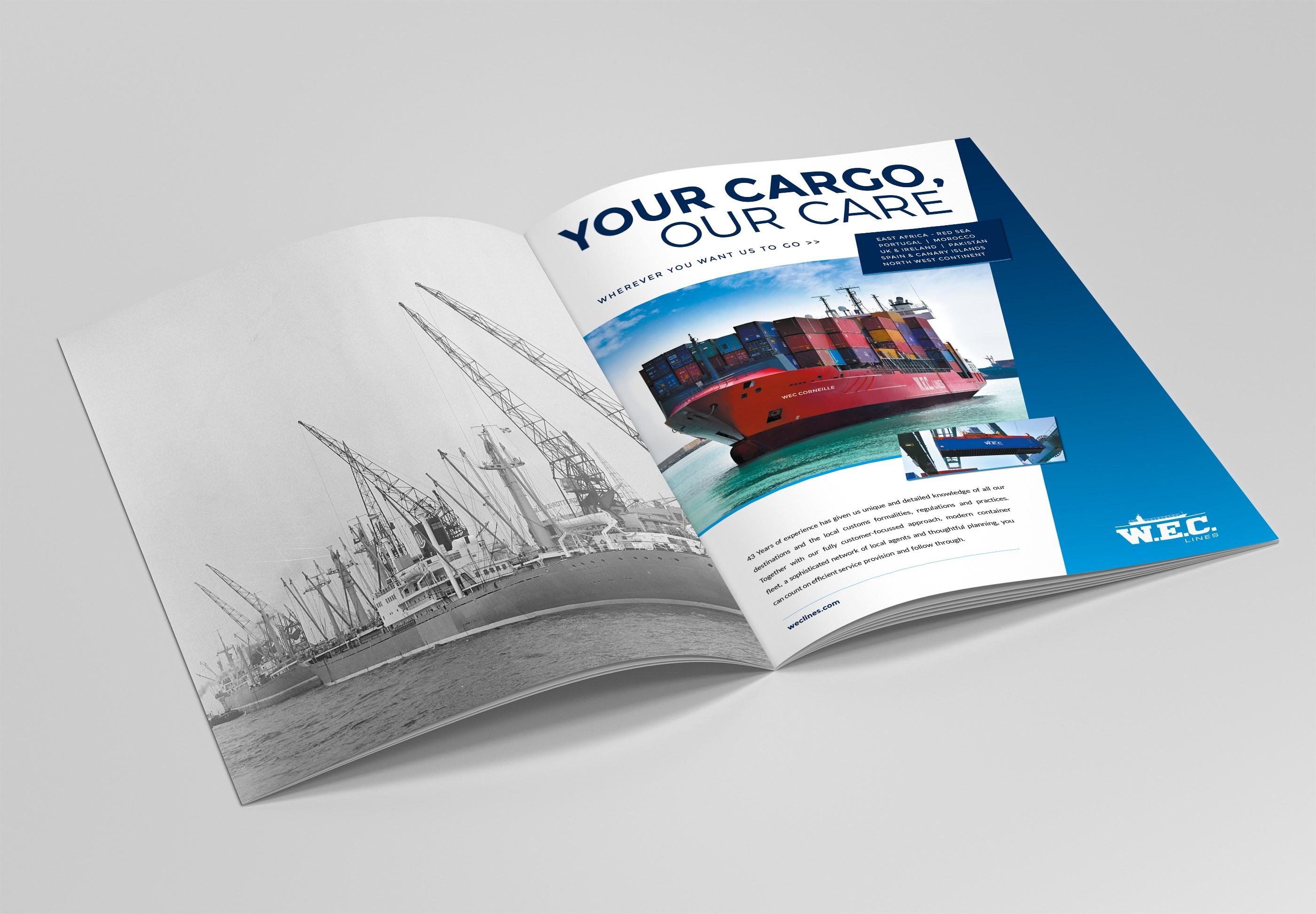 Opengeslagen magazine, rechterpagina toont advertentie van WEC Lines met containerschip
