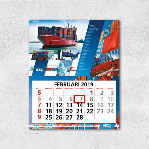 Kalender van WEC Lines met containerschepen die de maand februari toont