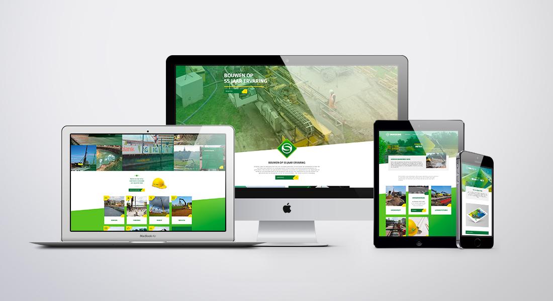 Desktop scherm, laptop, tablet en smartphone met hierin het ontwerp van de nieuwe VanSchie website