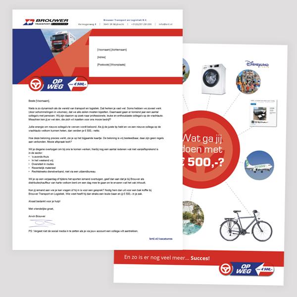 Voor- en achterkant brief aan medewerkers - Directie Brouwer transport moedigt medewerkers aan