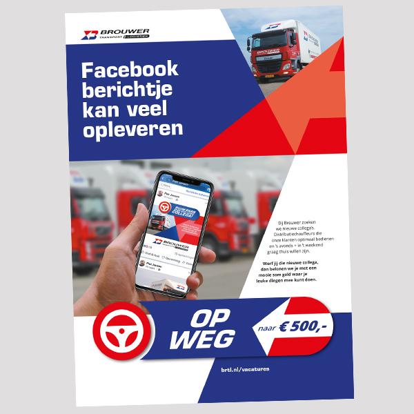 Poster met logo 'Op weg naar €500' - Arbeidsmarktcampagne voor Brouwer Mijdrecht