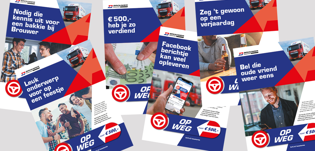 Diverse posters voor actie om chauffeurs te werken - Brouwer Transport vindt personeel door arbeidsmarktcampagne