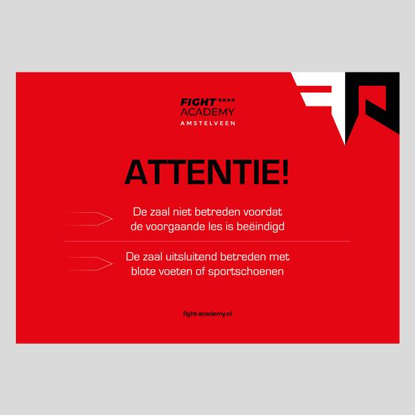 Attentie bordje voor sportschool Amstelveen