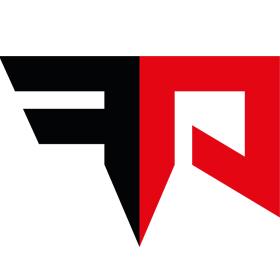 Zwart, rood beeldmerk op witte achtergrond van de Fight Academy