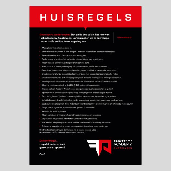 De huisregels op papier voor vechtsportschool in Amstelveen