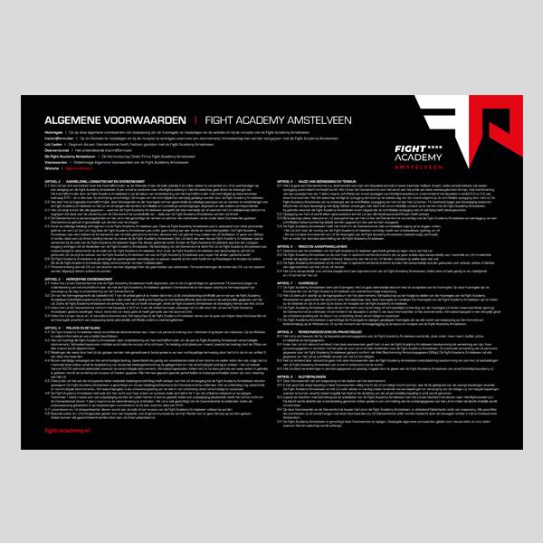 Voorwaarden in witte tekst op zwarte achtergrond voor Fight Academy Amstelveen