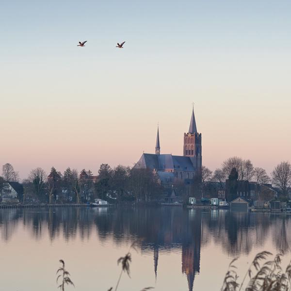 Zonsopgang bij kerk van Mijdrecht met twee vliegende vogels