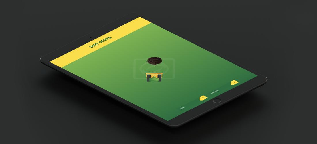 Ipad op zwarte achtergrond - de game Dirt Dozer in actie
