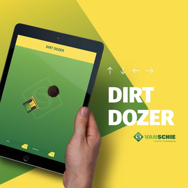 Tablet in de hand met Dirt Dozer spel - speel dit op de 404-pagina van Van Schie