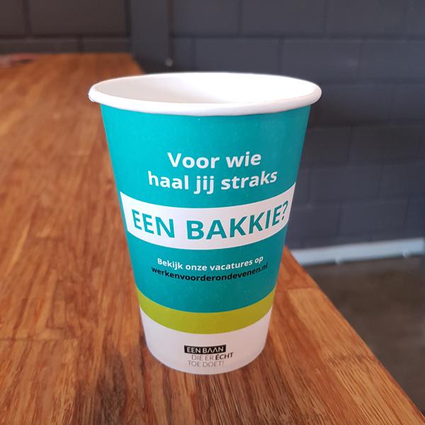 Bedrukte koffiebeker - Voor wie haal jij straks een bakkie? Arbeidsmarktcampagne gemeente