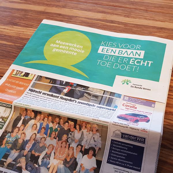 Flap om lokale krant - Kies voor een baan die er echt toe doet om het nieuwsblad De Groene Venen
