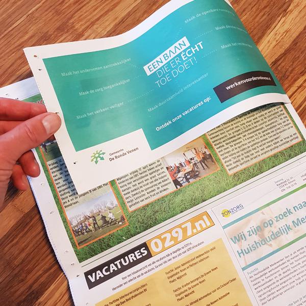 Achterkant actieflap om de Groene Venen - Wervende advertentie voor de gemeente