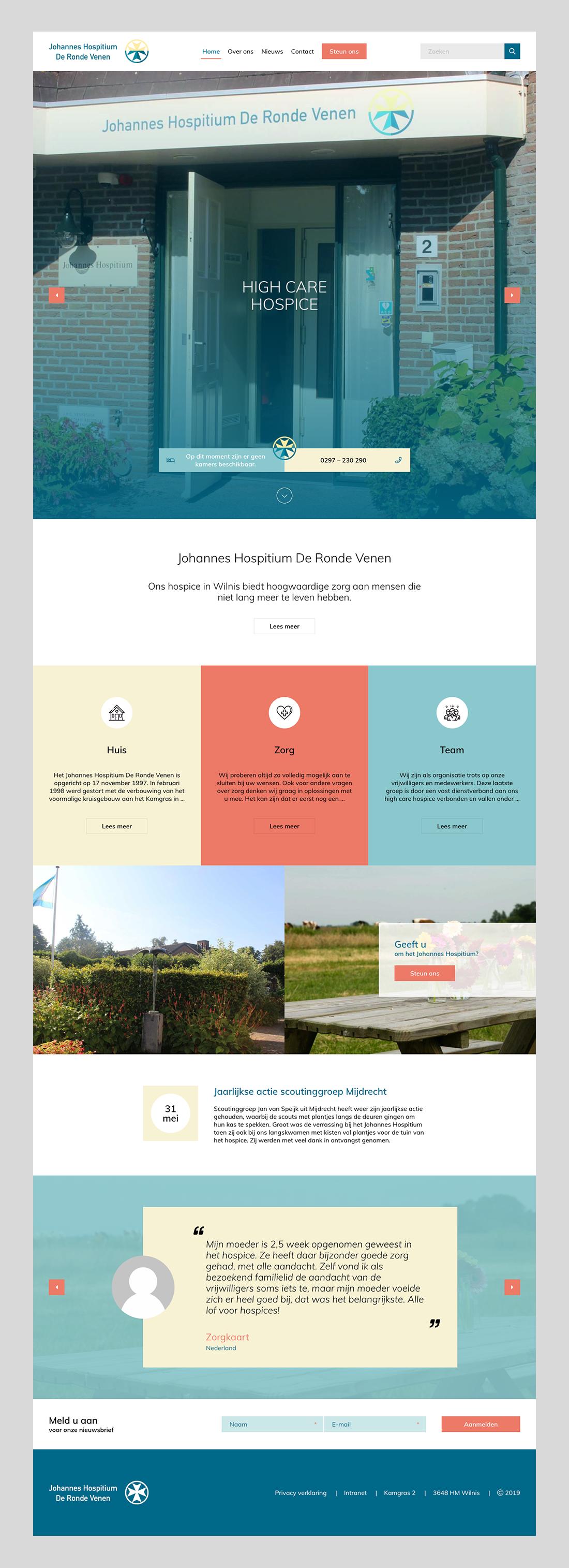 Uitgeklapt webontwerp voor Johannes Hospitium van de vernieuwde website