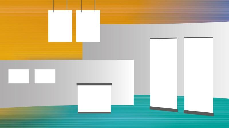 Kleurverloop met een grafische weergave van een beursstand met achterwand, roll up banner en posters