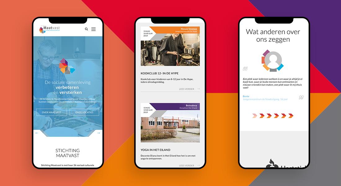 Stichting Maatvast: drie schermen op ondergrond die de mobiele versie van website stichting tonen