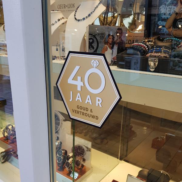 Swaab juwelier 40 jaar - raamsticker