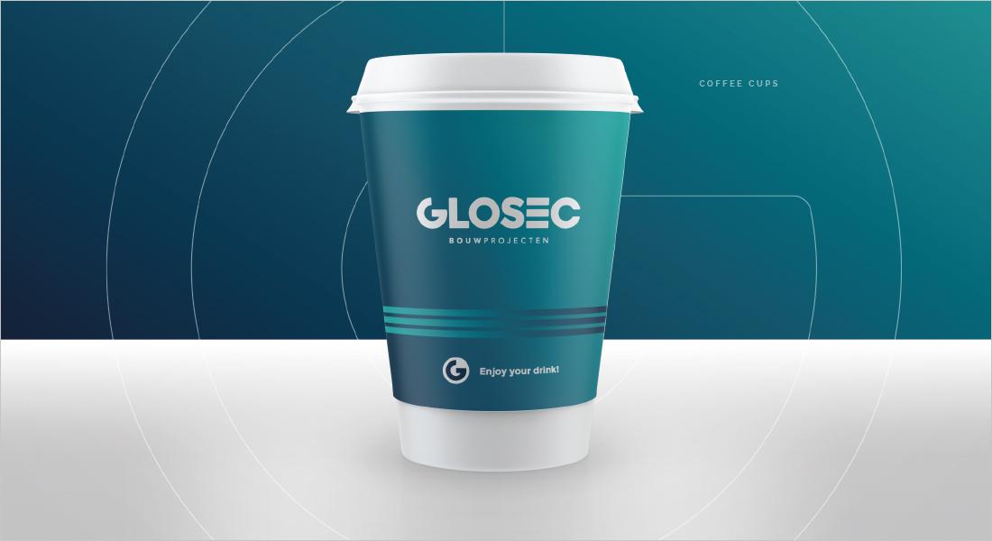 Glosec logo op koffiebeker