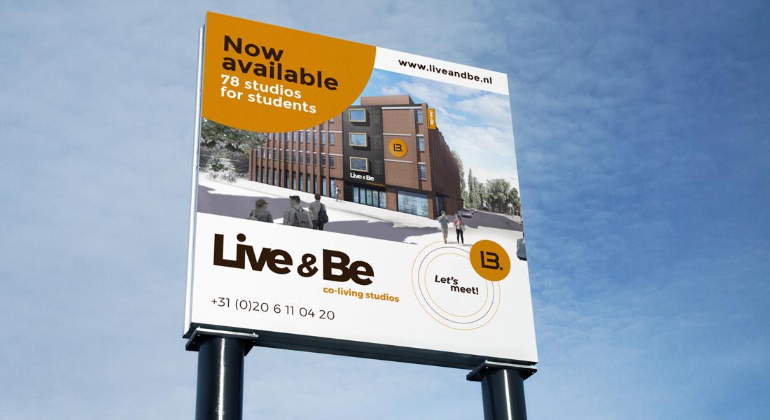 Live & Be visual bouwbord