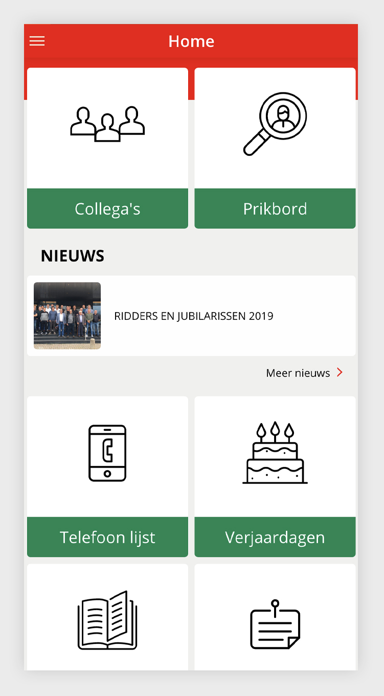 Breewell Intranet-app - handige iconen