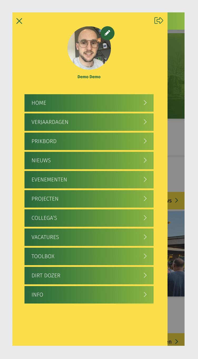 Van Schie intranet app - menu